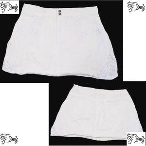St Johns Bay Sz 12 White Denim Jeans Skirt Upcycle